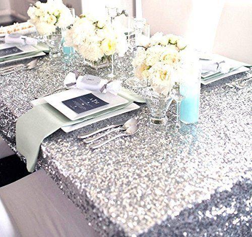 Silver Sequin Tischdecke, Tischtuch, Silber, Silber, Glitzer-Tischdecke (Sparklytablecloth 121.92 cm, Silber *182.88 cm))