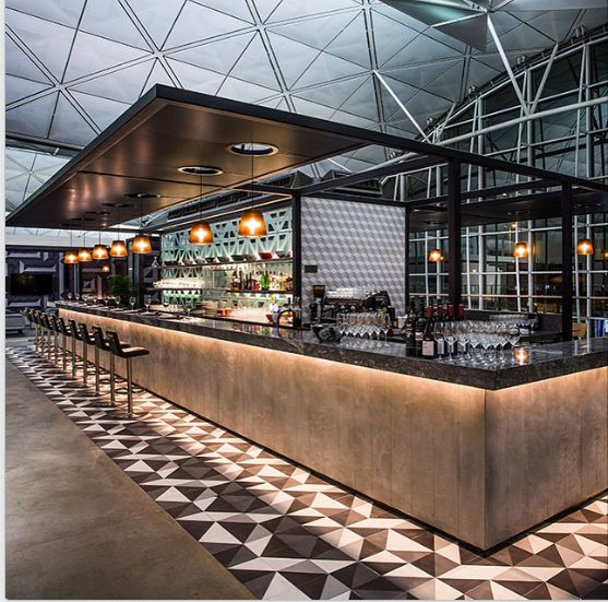 """Cement Tile Shop on Instagram: """"Our Diagonal pattern at the Qantas Lounge in the Hong Kong International Airport designed by Caon Studio and Sumu Design. The lounge was just voted as the 2nd best airport lounge in the world. #cementtileshop #cementtiles #"""