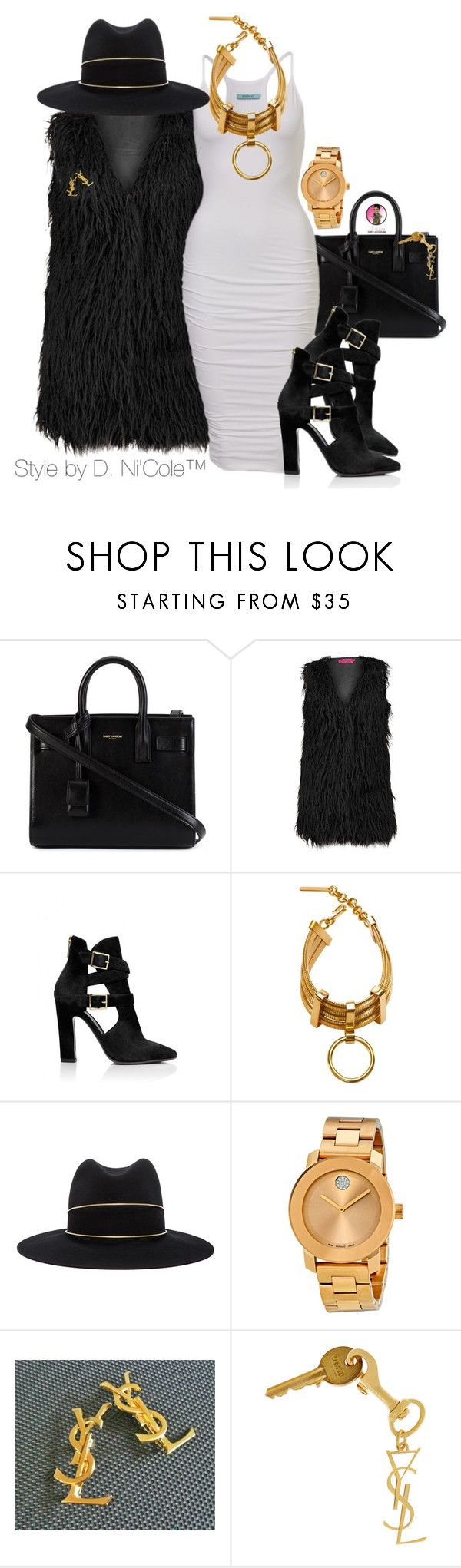 """""""Untitled #2903"""" by stylebydnicole ❤ liked on Polyvore featuring Yves Saint Laurent, Boohoo, Tamara Mellon, Scott Wilson, Janessa Leone and Movado"""
