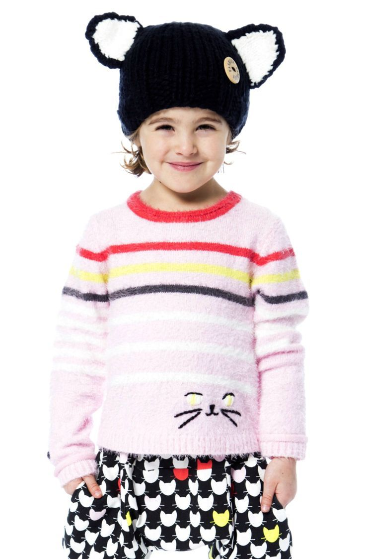 Embroidered with a kitty face, the Fuzzy Striped Sweater offers comfortable, cozy style with whimsical details. In a pullover silhouette made from nylon/acrylic yarn, this long sleeve sweater features contrast color stripes, a crew neckline, a stylish high-low hem, and soft rib knit trim. Two buttons at the back of the neck make it look simply adorable from every angle! Shop now at deuxpardeux.com #kidsstyle #dress #littlegirl #kidsfashion #kidswear