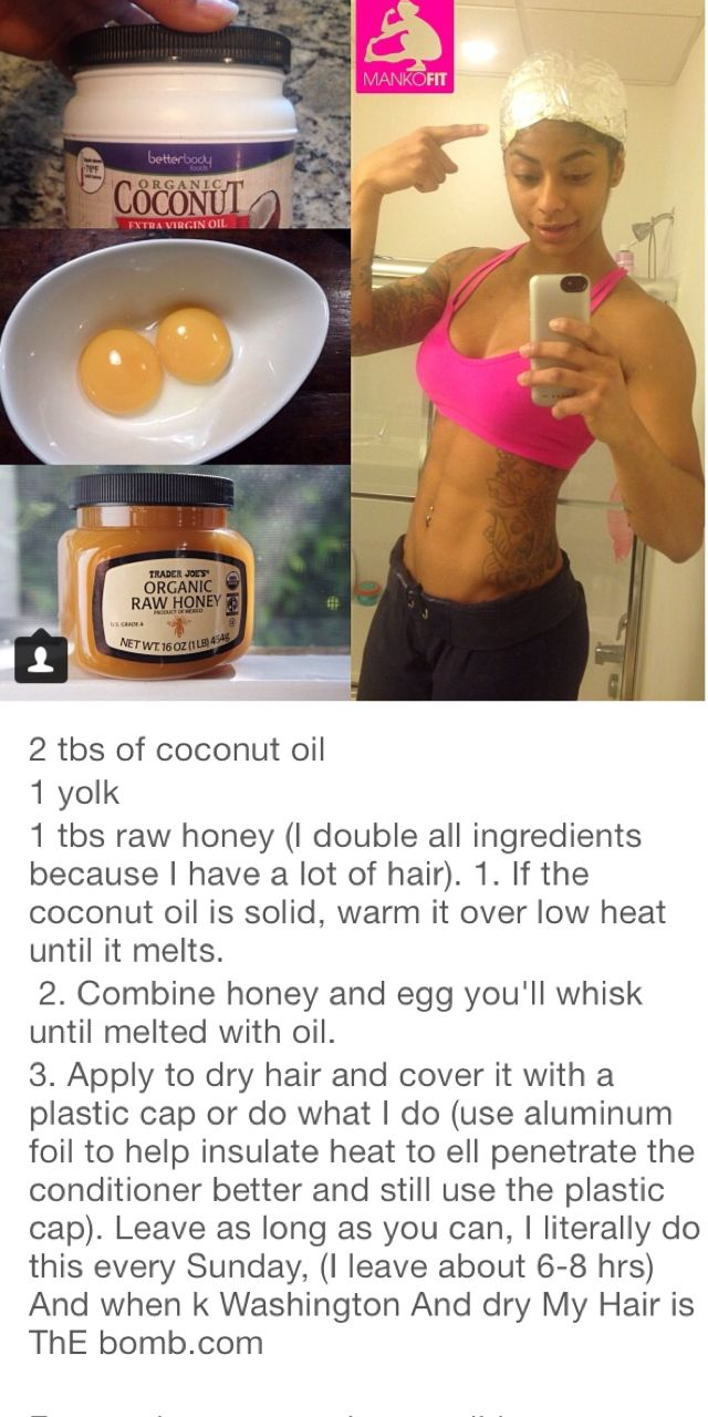 Honey, egg yolk and coconut oil hair mix