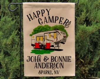 ***FLAG ONLY*** Personalized motorhome flag features the phrase Always at home wherever we roam. Perfect decoration for your campsite. Great gift for family or friends that enjoy traveling in their 5th Wheel Trailer. Can also be used as a wall hanging.  Please include following information in the NOTES TO SELLER section at checkout:  • LAST NAME • FIRST NAMES • CITY AND STATE  OR • ANY 3 LINES OF TEXT UP TO 20 CHARACTERS PER LINE  PURCHASE A 3-PIECE BREAKDOWN FLAG POLE HERE: https:/&#x2F...