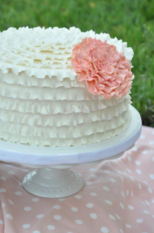 White Ruffle Cake With Pink Ruffle Flower Sweet Cheeks