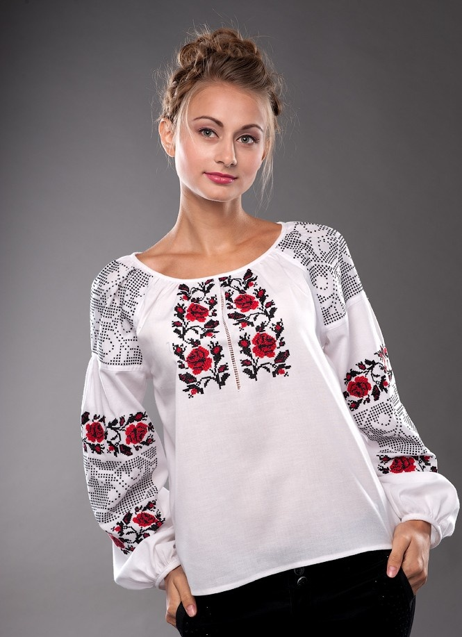 Beautiful Ukrainian shirt embroidery with traditional Volyn' region ornaments.