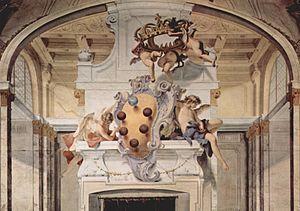 Het wapen van Het geslacht de' Medici (of Dei Medici) Dit was een machtige en invloedrijke familie, die in Florence als grondlegger van het internationale bankwezen gedurende de 15e eeuw op het gebied van kunst een toonaangevende rol speelde.    De leden van de familie de' Medici hadden invloed op de kunst en de architectuur vooral in Florence. Zij bezaten onder andere het Palazzo Pitti met de Boboli-tuinen. Ook begonnen zij het museum in de Uffizi. Blz. 98