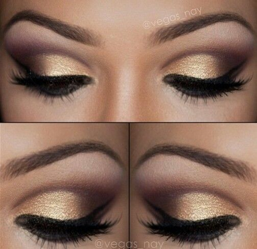 Gold and purple toned eye makeup. Perfect for prom! | thebeautyspotqld.com.au