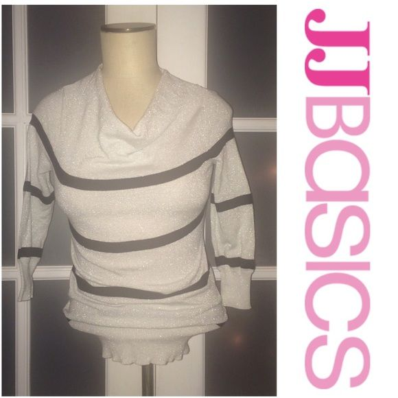 30% OFF BDLS JJ Basics strip sparkly top. JJ Basics white and black stripe sparkly top. Cowl neck type top. 3/4th sleeved top. Great for New Year's Eve! Tops