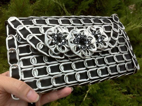 Soda Pop Tab Clutch Wallet Purse in Black with Sparkle Stars-LOVE it!