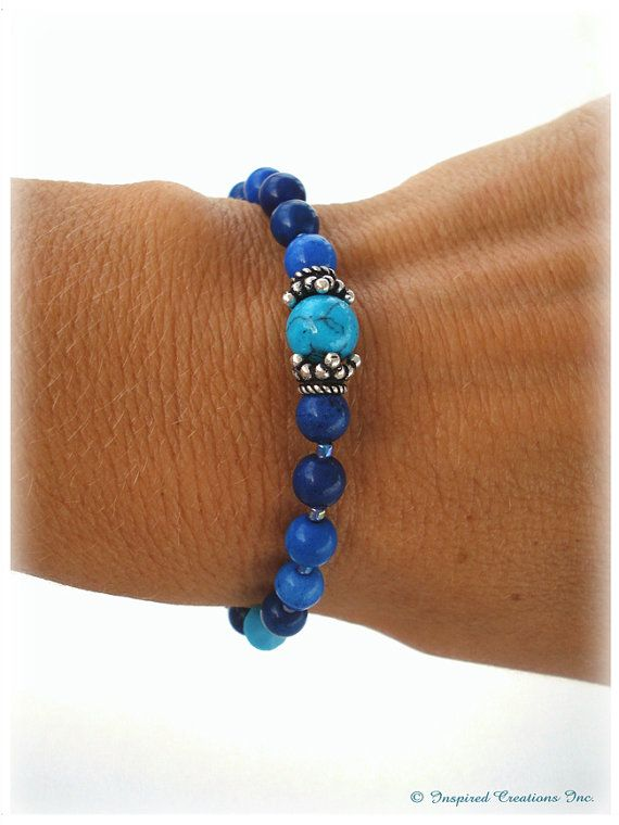 CALM INTUITION WOW I only have one of those and am tempted to keep it for myself! : ) Calming and stunning blue Sodalite with turquoise color howlite and Swarovski crystals makes for a very bohemian hip look. ♥