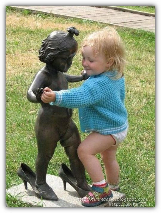 Let's dance : ) Grandma Peaches has a statue of a little girl sitting on a bench, the kids all give her kisses and sit with her!