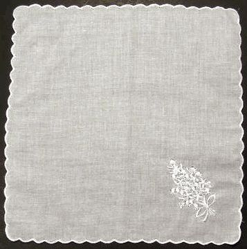 Dozen Ladies handkerchiefs with scalloped edge for embroidering
