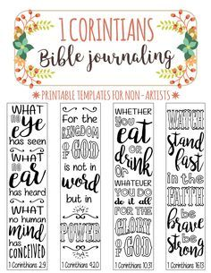 1 CORINTIANS printable Bible journaling templates for non-arists. Just PRINT & TRACE!