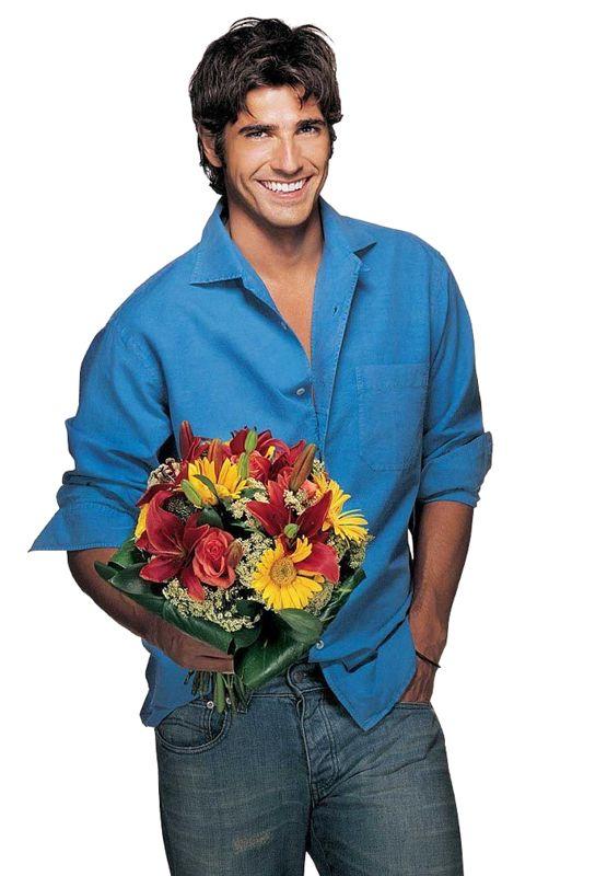 Открытка с днем рождения мужик с цветами, открытку