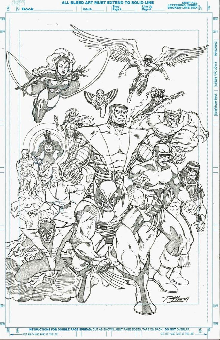 X Men By Ron Lim Ronlim Wolverine Nightcrawler Colossus Cyclops Thunderbir Marvel X Colossus Cyclop Comic Art Xmen Comics Superhero Coloring
