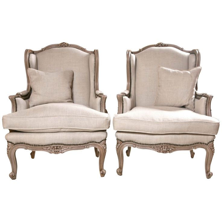 furniture classic linen pair of french wingback dining chair with nail