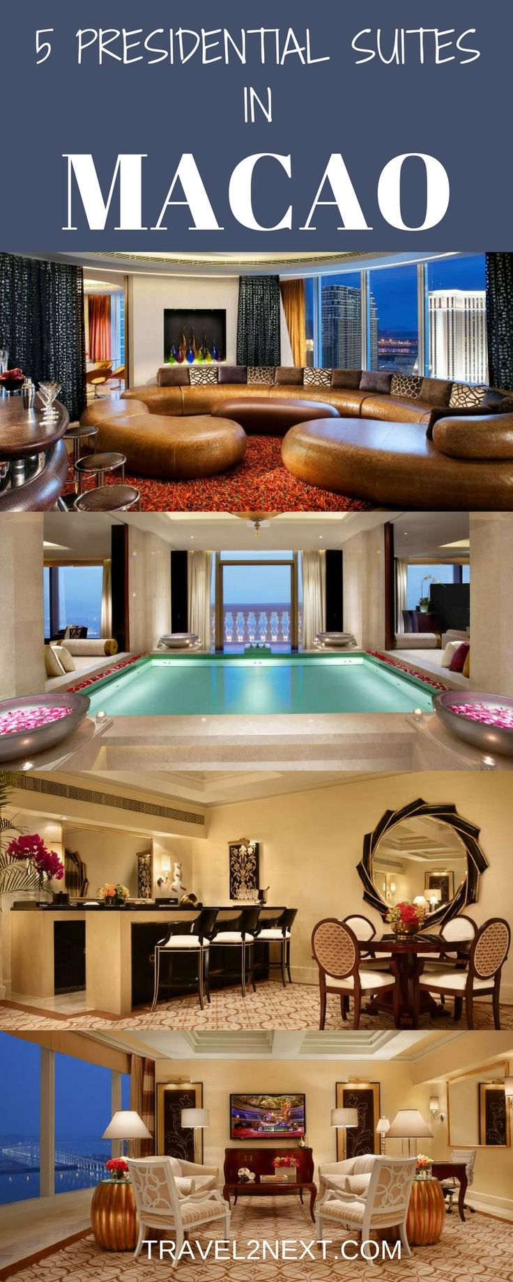 5 Presidential Suites in Macau. When Maria Carey, Leonardo DiCaprio, Robert De Niro, and Martin Scorsese pitched up for the launch of the US$4.5 billion Studio City in Macau in October 2015