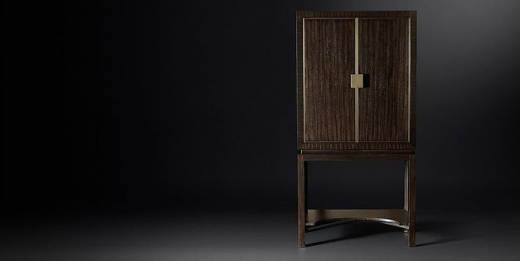 Maxim Bar Cabinet Collection - Espresso & Burnished Brass | RH