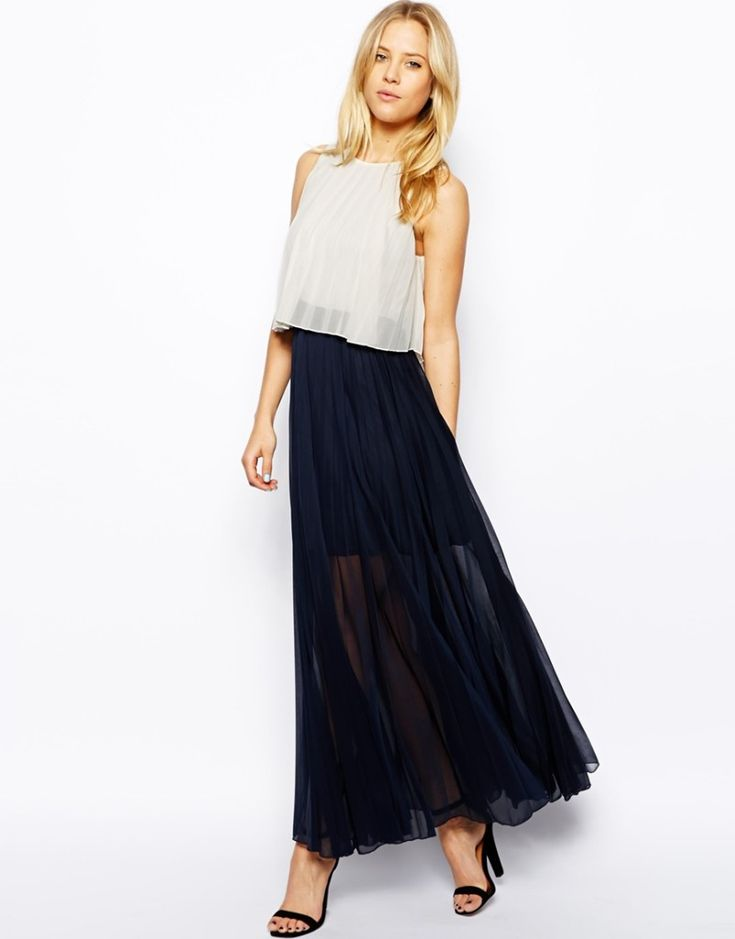 Pleat Layer Maxi Dress from ASOS - we love this look for a small baby bump! #maternity