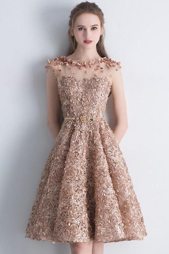 abba2aa197c58 A Line Gold Cap Sleeves Scoop Lace Appliques Short Prom Dresses ...