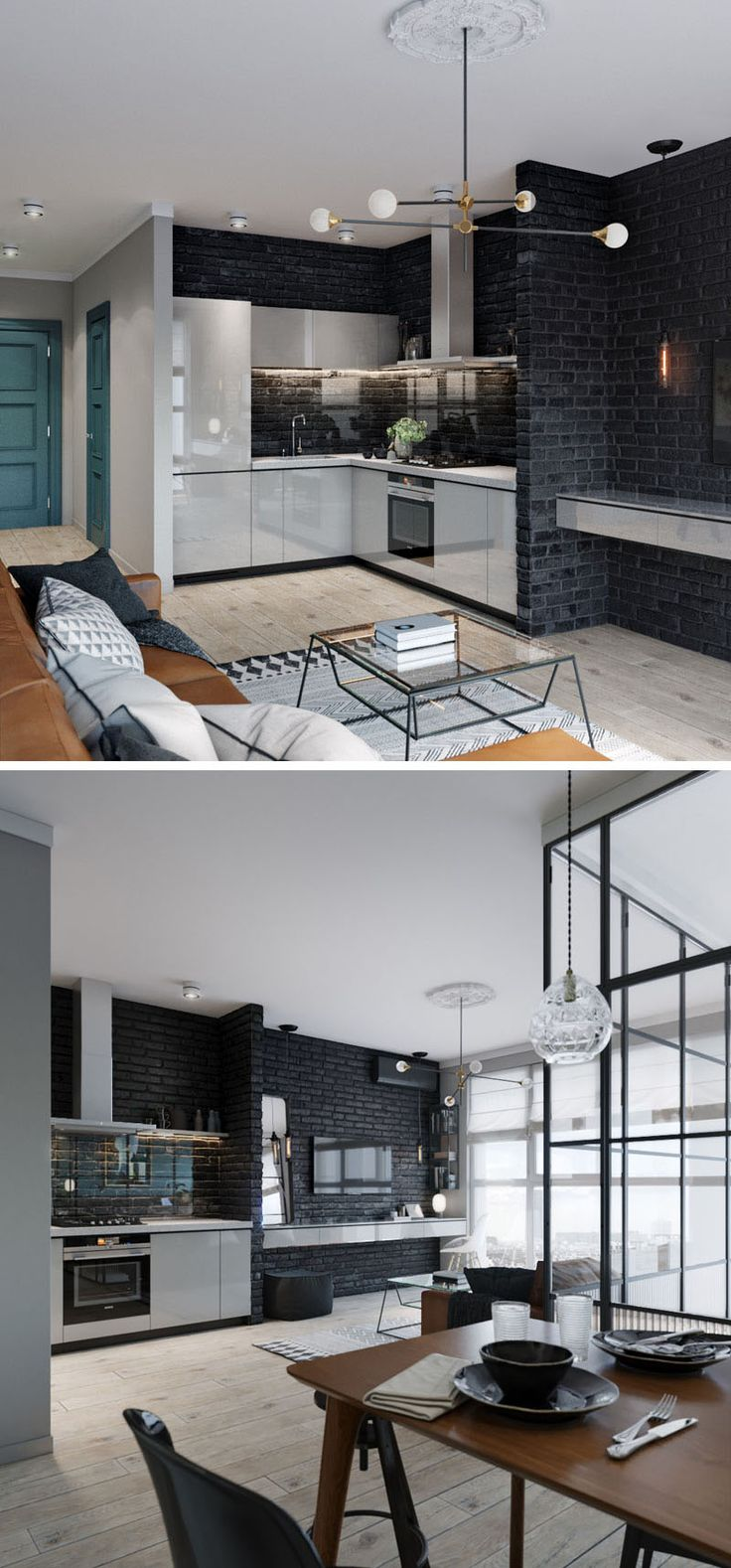 This small and modern apartment features a black brick wall that draws your eye to the living area and kitchen. A white floating shelf in the living room doubles as a desk, and the white continues in the kitchen, where white cabinetry provides storage and conceals the refrigerator. A glass backsplash in the kitchen protects the brick and adds to the seamless look.