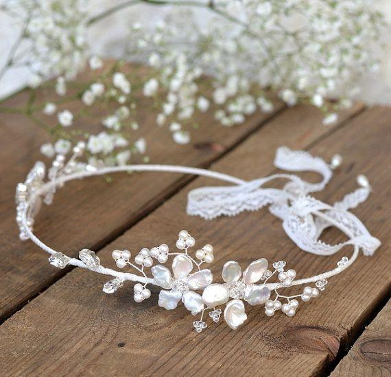 bridal wedding headpiece, bridal hair accessory, floral hair vine, bridal flower crown, wedding headband, bridal pearl tiara, forehead halo