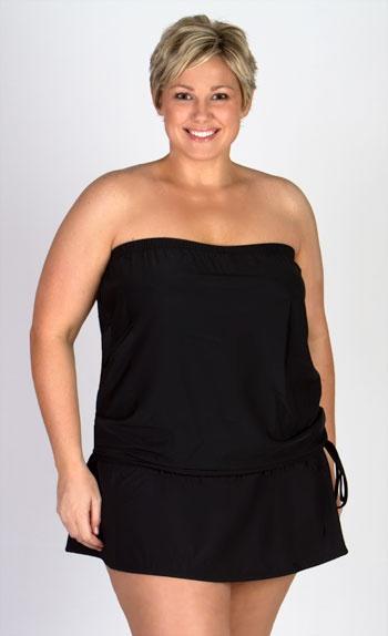 Black Plus Size Swimwear Bandeau Top And Skirt Set Plus