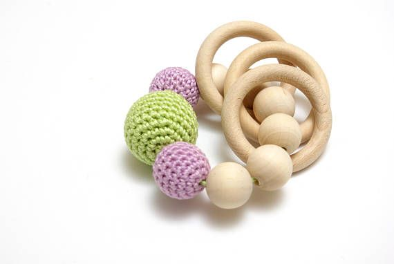 Pastel crochet teething ring wooden baby toys baby teether  #sensorytoys, #newborntoy #woodenbabytoy, #teetingring, #crochetbabytoy