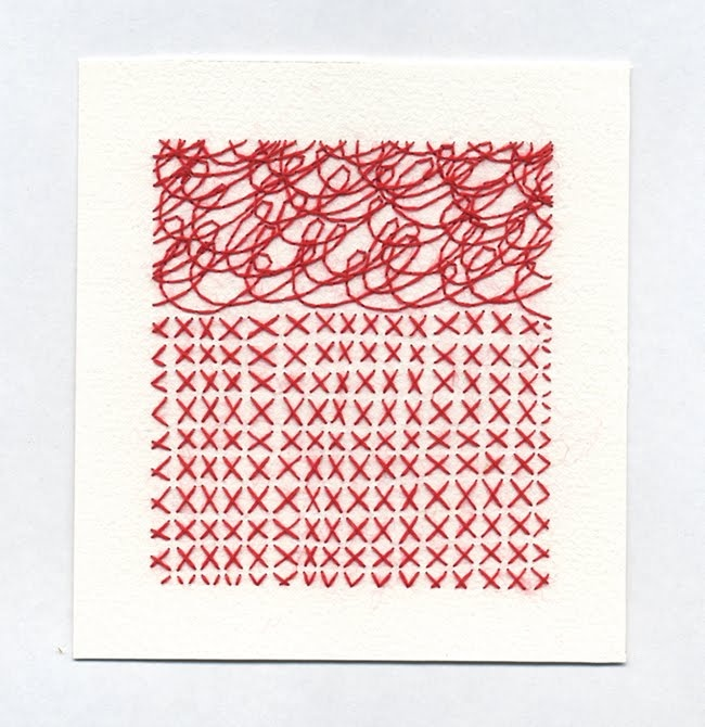 Emily Barletta sewn drawing #red