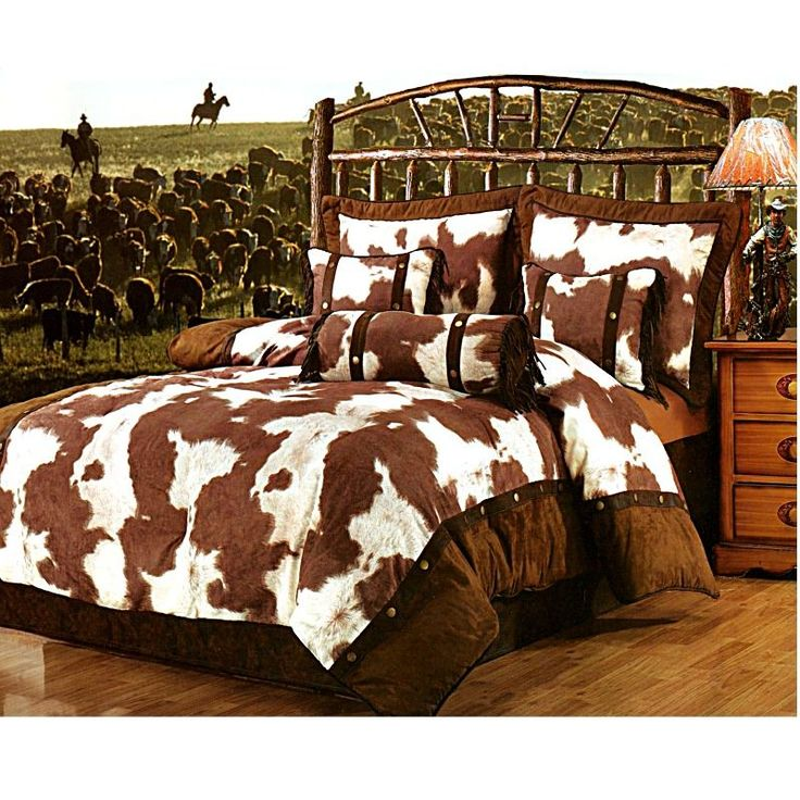 western/cowboy bedding | Cowhide Print Western Bedding Ensemble Full | MonsterMarketplace.com