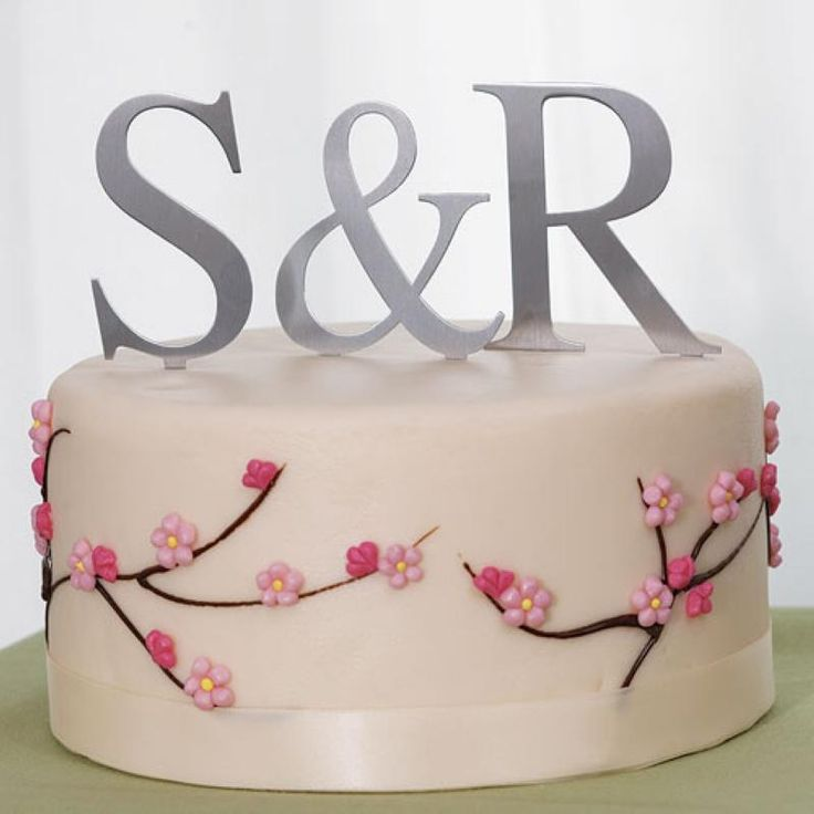 Wedding  Brushed Silver Monogram Cake Topper Large - WeddingWish.com.au