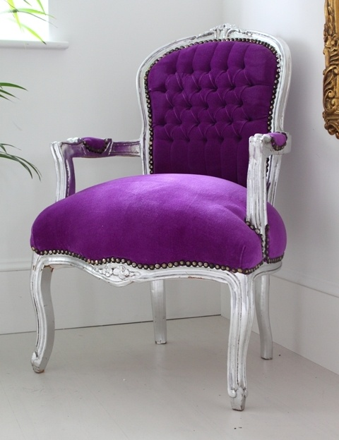 Purple Louis Armchair With Silver Frame from Out There Interiors