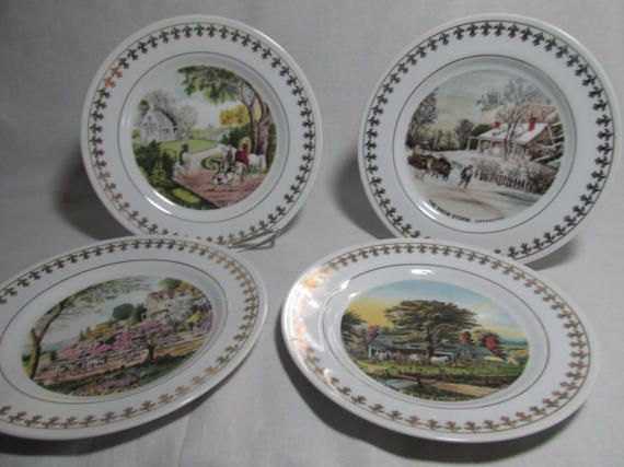 This is set of 4 pieces of collector plates showing Currier & Ives Four Seasons Revisited from the The Roy Thomas collection . The plates measure about 8 diameter, and trimmed with gold fleur-de-lis design. The plates come with 4 spring wall hangers. The set is number on the back and the Company stamp logo. They were made of porcelain china in 1981. The plates are in excellent condition. The plates include: Summer in the Country Autumn in New England The Snow Storm The Season of Blossoms
