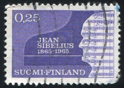 Finnish stamp, 1965, commemorating the 100th birthday of Jean Sibelius