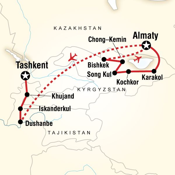 Map of the route for Central Asia Adventure – Almaty to Tashkent