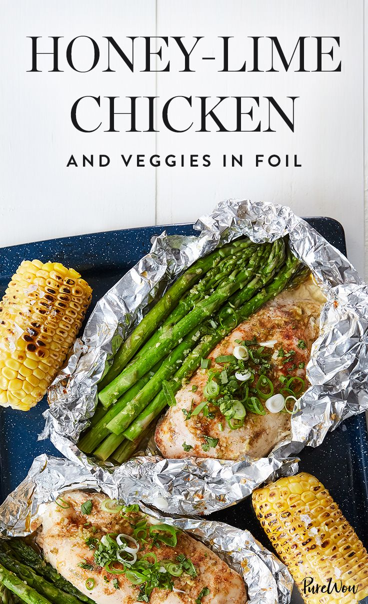Each portion of this honey-lime chicken and veggiescooksinside a littlefoil packet that you place directly on the grill.Once everything's cooked,just throw away the foil.