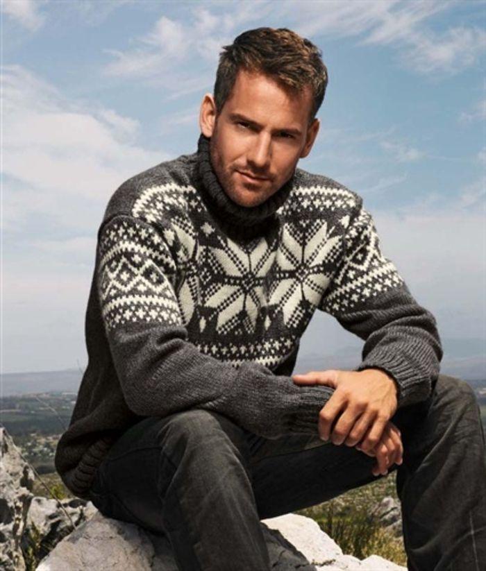Norweger Pullover herren mit ornamenten