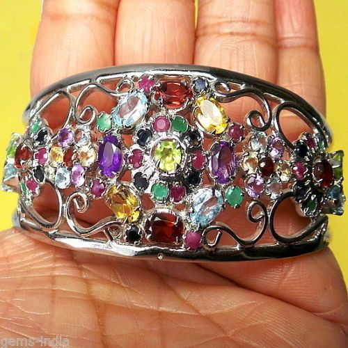 ASTONISHING 33 Gr Natural Untreated Multi Gems 925 Silver Bracelet Cuff Bangle *