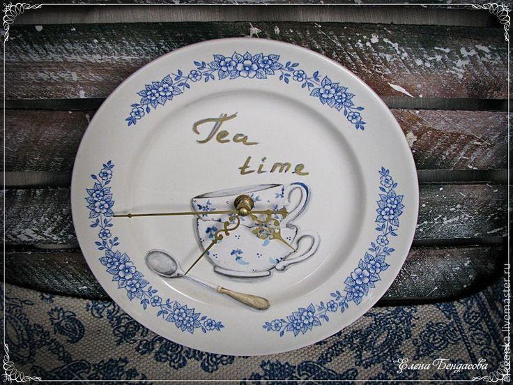 """Купить Часы """"Tea time"""" - тёмно-синий, часы настенные, часы кухонные, часы интерьерные"""