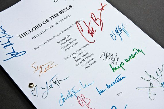 Lord of the Rings: Fellowship of the Ring Film Movie Script with Signatures/Autographs Reprint