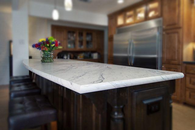Wilsonart Premium Laminate:  Calcutta Marble (4925) with new sleek Cascade decorative edge by Wilsonart International, via Flickr