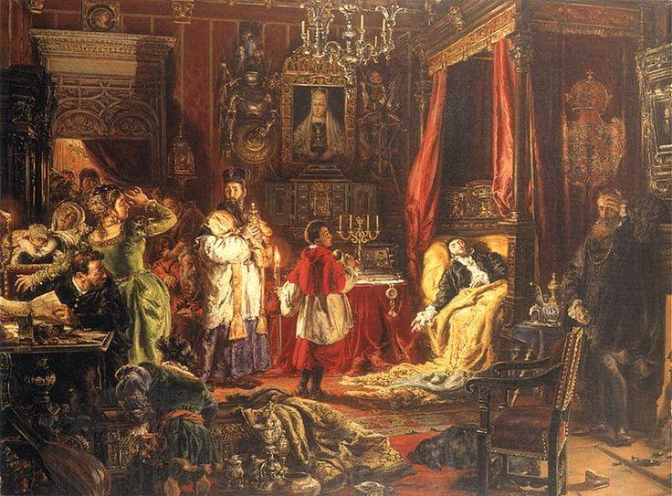 Jan Matejko (1838-1893). Śmierć Zygmunta Augusta w Knyszynie [Death of Sigismund Augustus at Knyszyn]