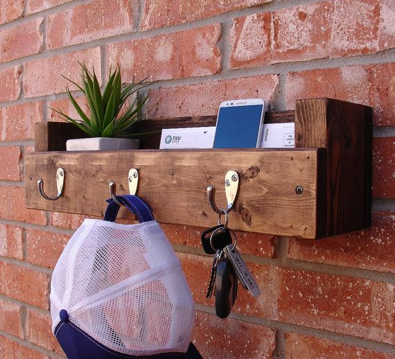 Simply Rustic Entryway 3 Hanger Hook Coat Rack and Mail Phone Key Organizer on Etsy