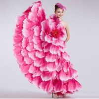 Wish | Flamenco dance costume dance expansion skirt costume modern dance performance wear clothes petal skirt spanish flamenco dress