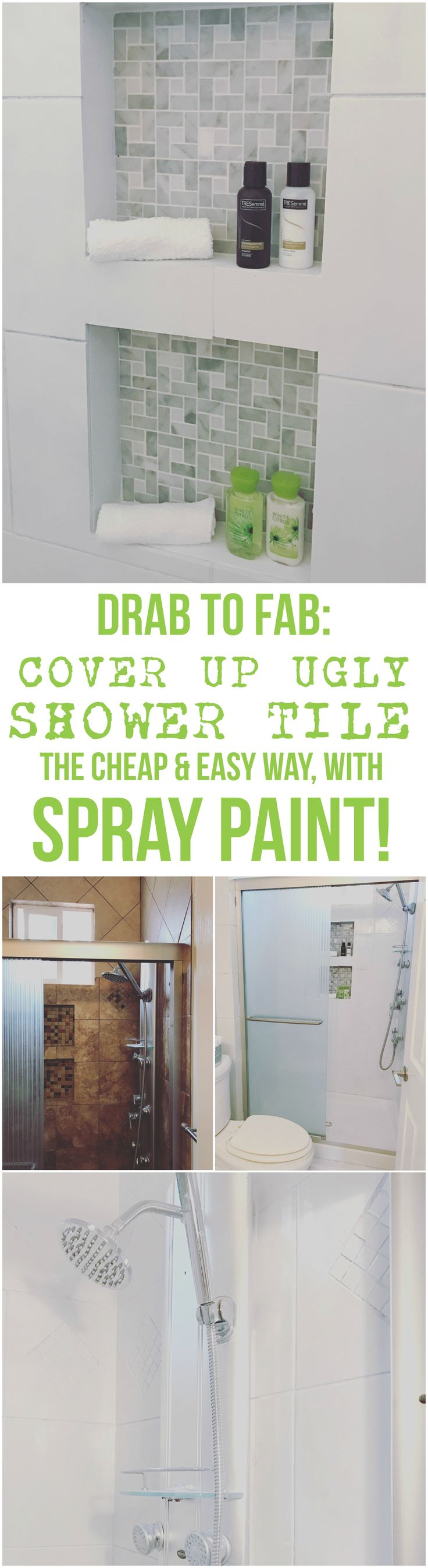 Cheap & Easy Shower Makeover with Spray Paint! Here's how we used Rust-Oleum epoxy spray paint to give our shower an instant makeover!