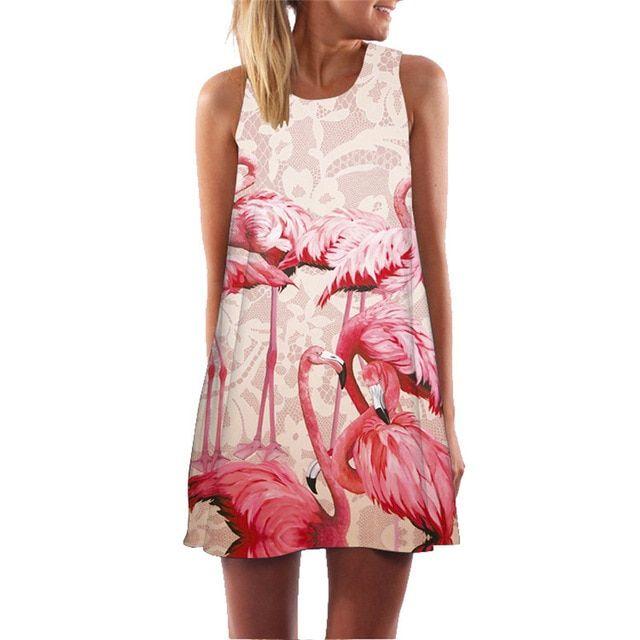 Women beach dress plant cactus 3d print bohemian boho dresses summer shift clothes mini short vintage retro vestido