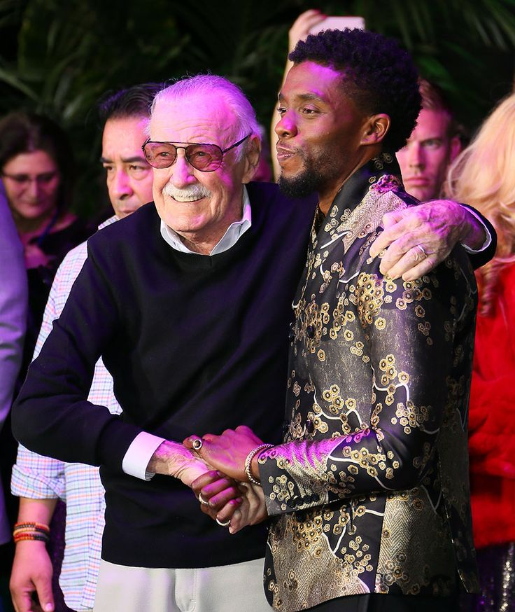 Stan Lee (left) and Chadwick Boseman at Marvel Studios 'Black Panther' Premiere at the Dolby Theatre (January 29, 2018) -  Photo by JB Lacroix/WireImage