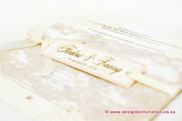 Wedding Invitation with Lace © www.designbyinvitation.co.za