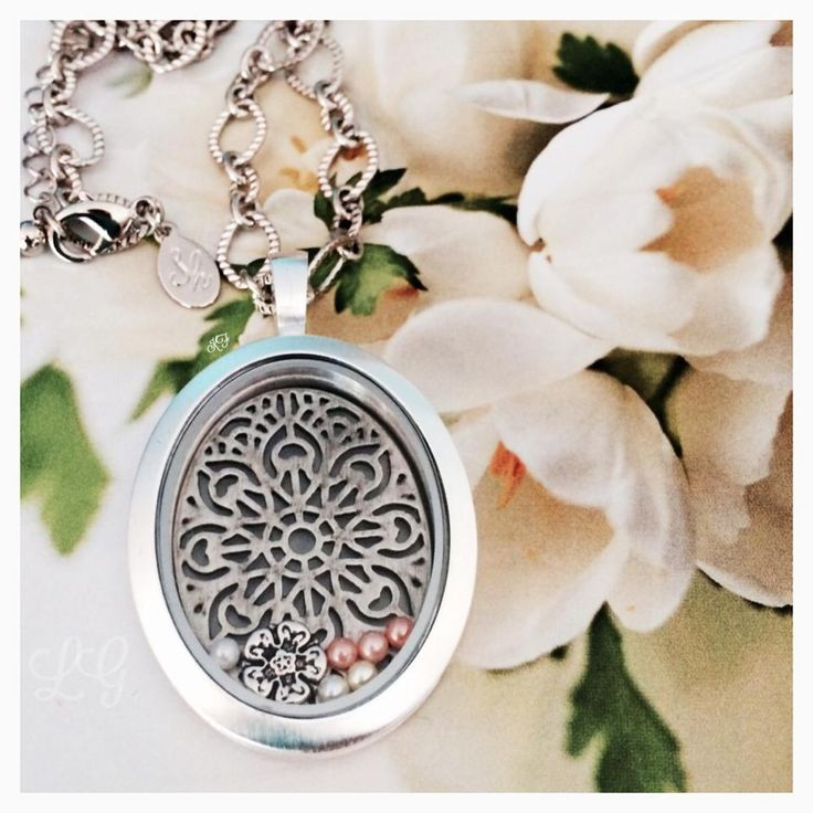 Silver Vintage Oval Locket filled with ornate screen, pearls, tudor rose charm - on a Madison chain. www.southhilldesigns.com/bethhagemeyer