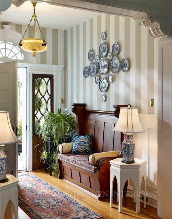 Traditional Entryway with Paint 1, Spode Dinnerware, Blue Italian ...
