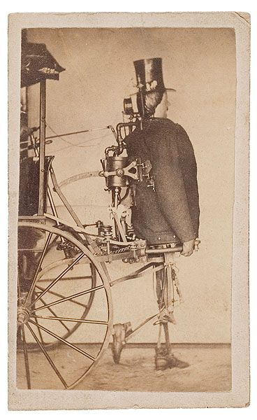 ca. 1870's, [carte de visite patent model portrait of a steam-powered android attached to a wheeled cart], Geo. O. Bedford's Park Gallery ( victorian robot / vintage robot )
